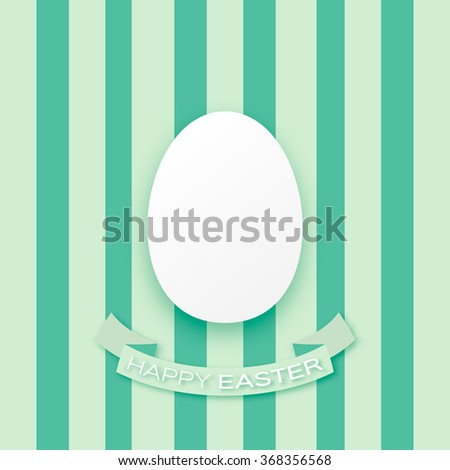 Happy Easter decorated paper egg with ribbon on green background. Vector design  - stock vector