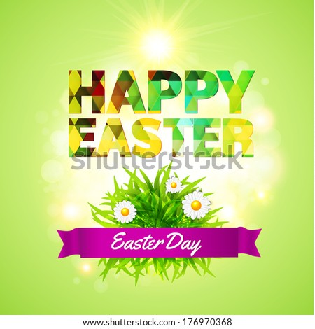 Happy Easter design background. Bright colors, the shining sun, grass with daisy flowers. Vector illustration. - stock vector