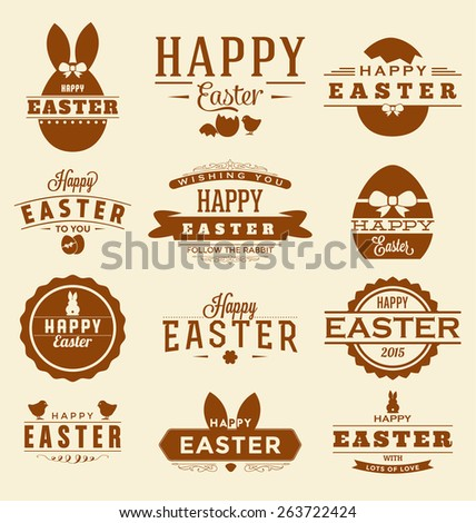 Happy Easter Design Collection - A set of twelve vintage style Easter Label Designs on light creamy background - stock vector