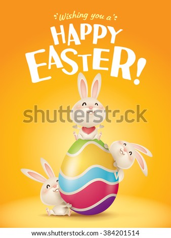 Happy Easter! Easter bunnies and egg in plain background. Wide copy space for text. - stock vector