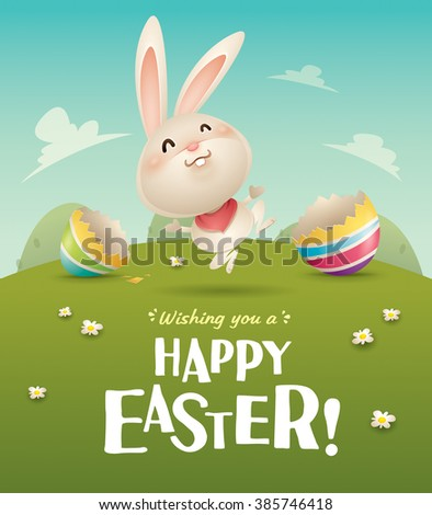 Happy Easter! Easter bunny and egg in field. Wide copy space for text. - stock vector