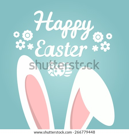 Happy Easter | Easter Bunny Ears Vector - stock vector