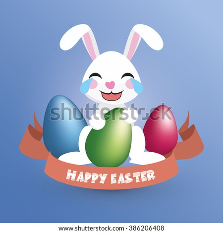 Happy Easter. Easter Bunny / Happy Laughing Rabbit holds an egg - Greeting Card and Poster Template with Blue and White Background and Emotional Expression. Vector Element Graphic Illustration Design.