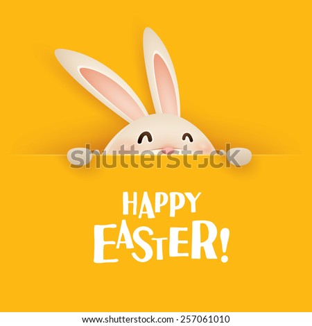 Happy Easter! Easter bunny with big sign - stock vector