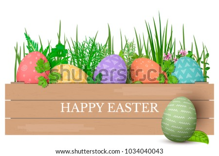 Happy easter easter colorful eggs row stock vector 2018 1034040043 happy easter easter colorful eggs in row in brown wooden crate with cooking herbs negle Image collections
