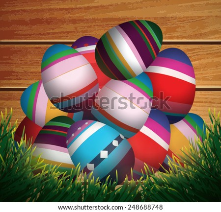 Happy Easter. Easter eggs in grass.