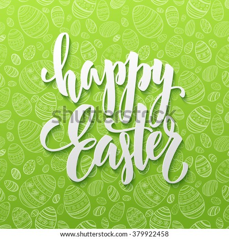 Happy Easter Egg lettering on seamless background. Vector illustration EPS10 - stock vector
