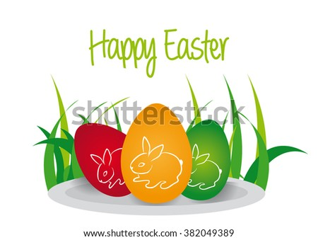 Happy Easter Eggs On Plate With Grass