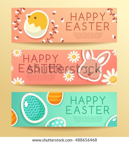 Happy Easter Elements : Banner and Label Template : Vector Illustration