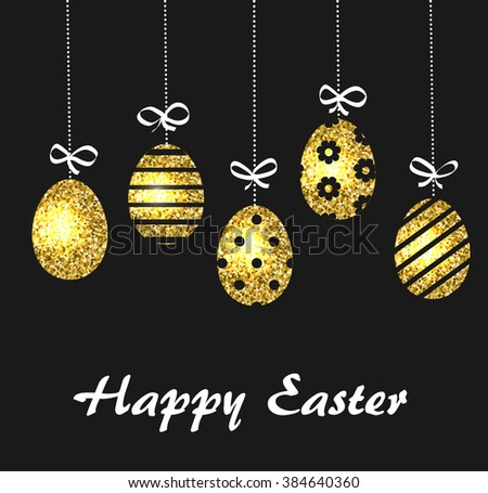 Happy Easter festive background with hanging golden Easter eggs over black, vector illustration - stock vector