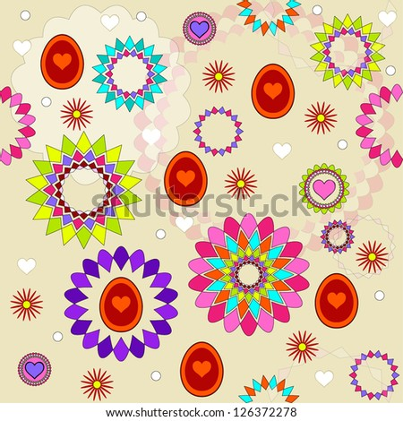 Happy Easter floral background, seamless pattern with eggs and flowers, vector Happy Easter floral background, seamless pattern with eggs and flowers, vector illustration - stock vector