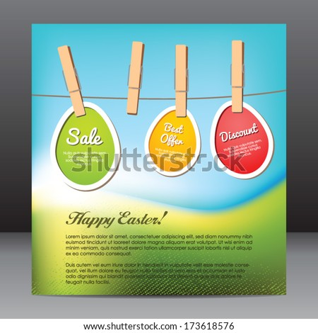 Happy Easter Flyer Design Template Eggs Stock Vector
