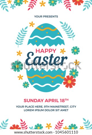 Happy Easter Flyer Template Stock Vector   Shutterstock