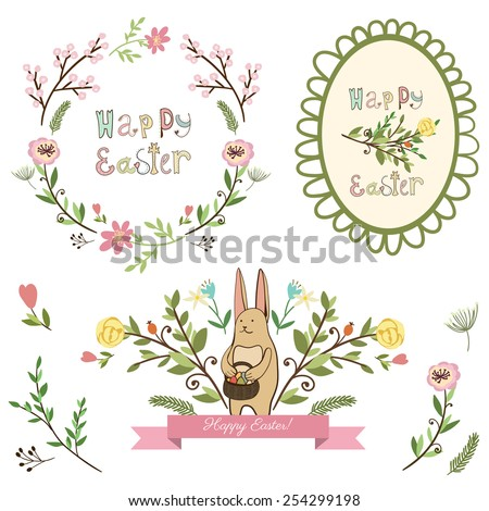 Happy easter graphic elements,vector set, cartoon style - stock vector