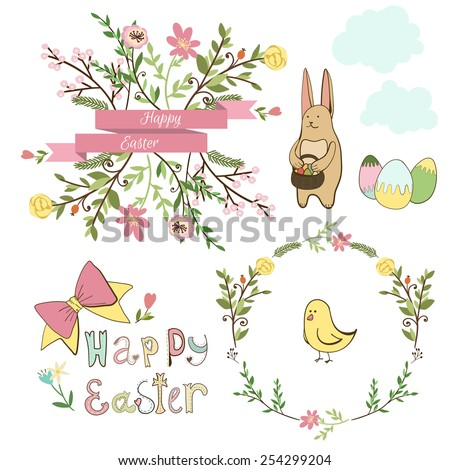 Happy easter graphic elements,vector set, hand drawn - stock vector