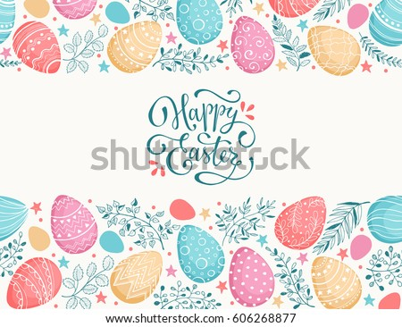 Happy Easter greeting card. Eggs composition hand drawn black on white background. Decorative frame from Easter eggs and florals.