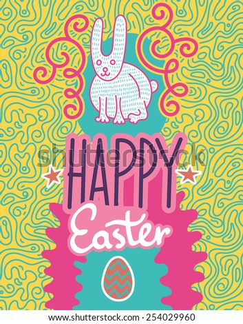 Happy Easter. Greeting Card Illustration - stock vector