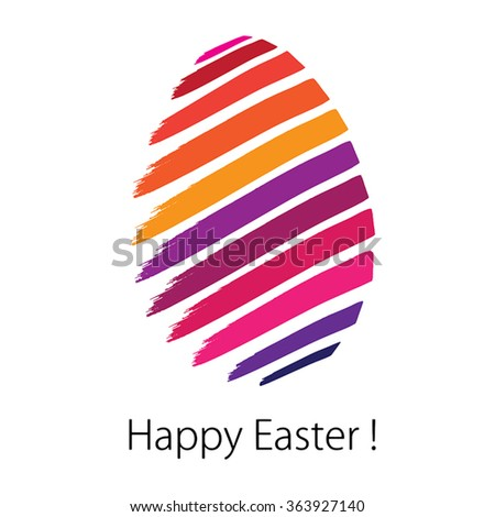 Happy Easter. Greeting card in Vector Format. Color can be changed by one click - stock vector