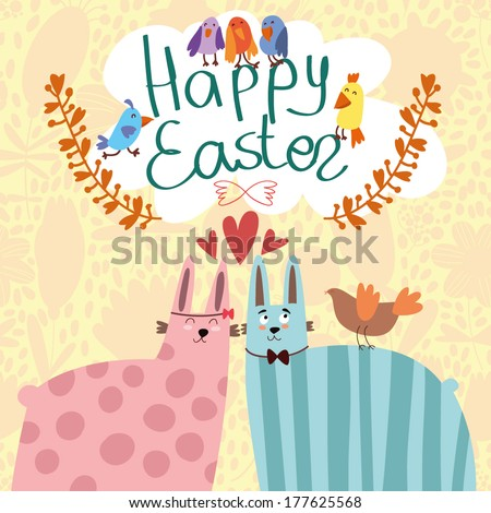 Happy Easter Greeting Card in vector. Funny rabbits and birds  in cute cartoon style - stock vector