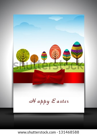 Happy Easter greeting card or gift card with colorful trees in egg shape and red ribbon. - stock vector