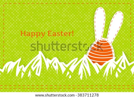 Happy easter greeting card - part of bunny with long ears on retro green background, textile applique,  vector illustration - stock vector