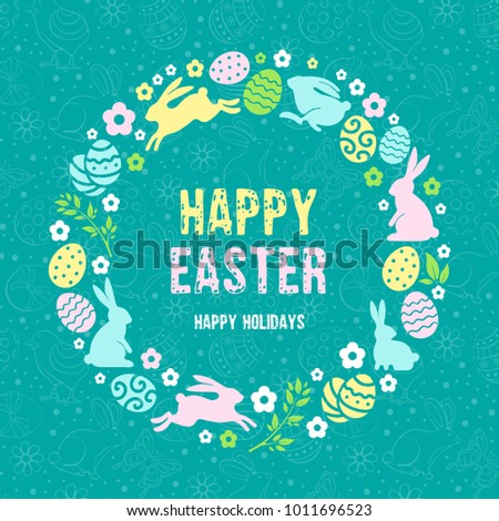 Happy Easter Greeting Card Template Stylized Stock Photo Photo