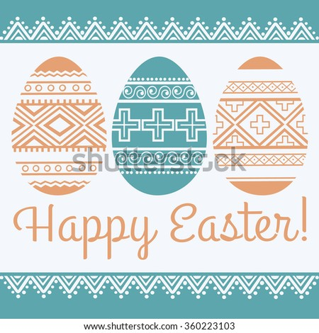 Happy Easter Greeting Card Template Easter Stock Vector