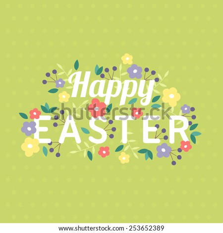 Happy Easter Greeting Card Template Flowers Stock Vector