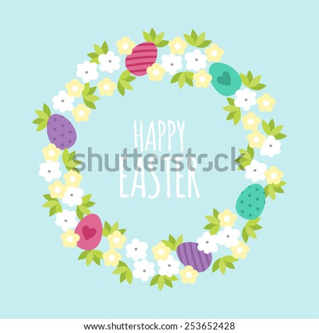 Happy Easter greeting card template with flowers. Vector illustration - stock vector