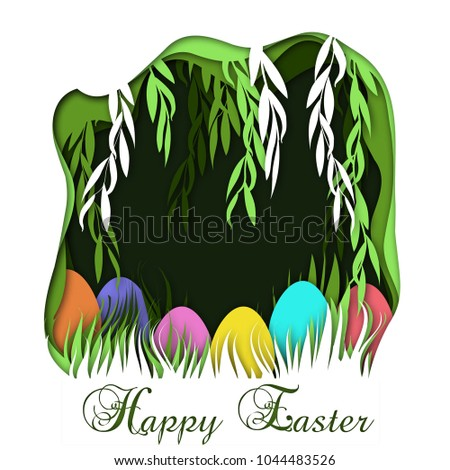 Happy easter greeting card template willow stock vector 1044483526 happy easter greeting card template with willow tree branches and eggs hidden in the grass and m4hsunfo