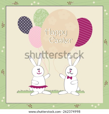 Happy Easter greeting card vector colorful illustration. Cute Easter Bunny couple with balloons resembling egg shape. Traditional Spring holiday invitation & greeting card template. Layered editable. - stock vector