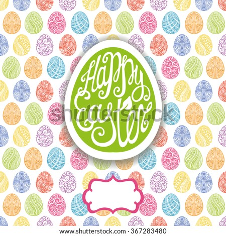 Happy Easter greeting Card,vector egg pattern background.Easter egg shape label with Hand lettering font,title.Vector Easter calligraphy decoration.Green icon,symbol.Colored backdrop - stock vector