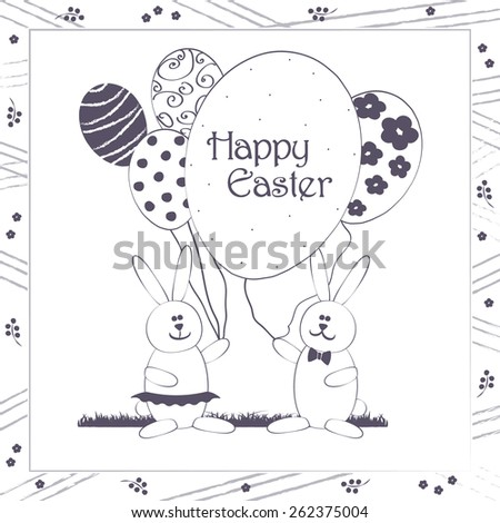 Happy Easter greeting card vector illustration. Cute Easter Bunny couple with balloons resembling egg shape. Traditional Spring holiday party invitation & greeting card template. Layered editable. - stock vector