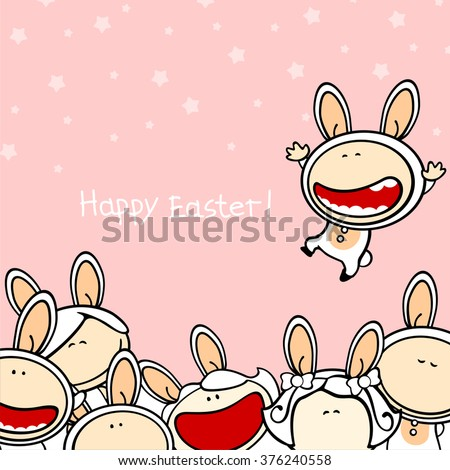 Happy Easter greeting card with a group of funny kids in bunny costumes - stock vector