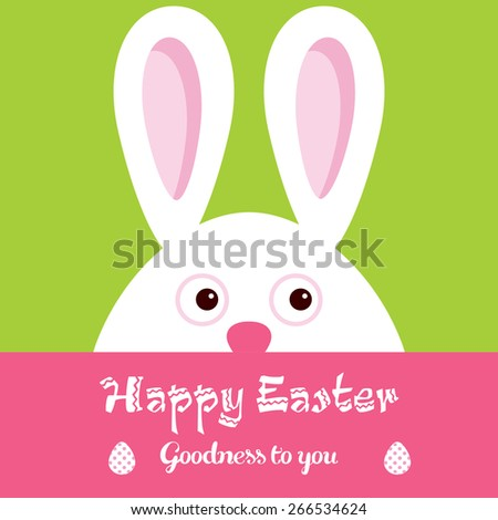 Happy Easter greeting card with Bunny  - stock vector