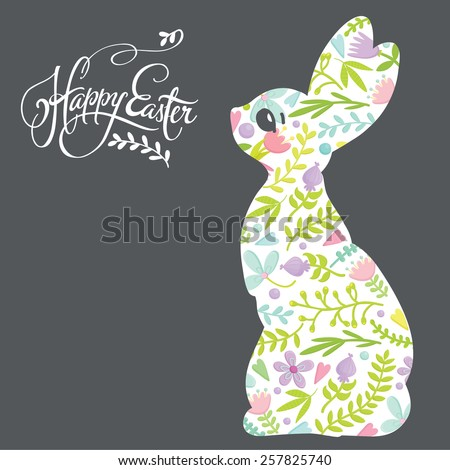 Happy Easter greeting card with bunny. Graphic rabbit silhouette with floral pattern. Vector illustration. - stock vector