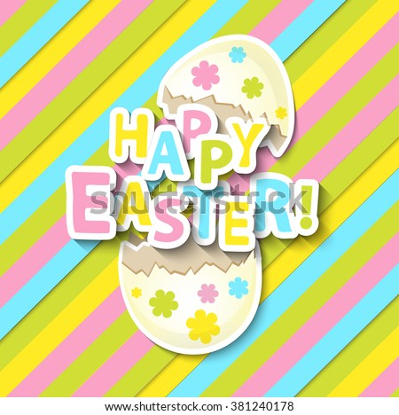 Happy Easter Greeting Card with Cartoon Eggs on the colorful background, vector illustration.