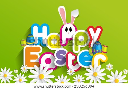 Happy Easter Greeting Card with Cartoon Rabbit vector illustration