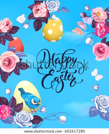 Happy easter greeting card colorful eggs stock photo photo vector happy easter greeting card with colorful eggs half colored rose flowers and pretty little m4hsunfo