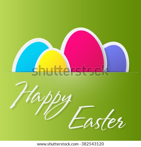 Happy Easter Greeting Card with eggs. Vector illustration. - stock vector