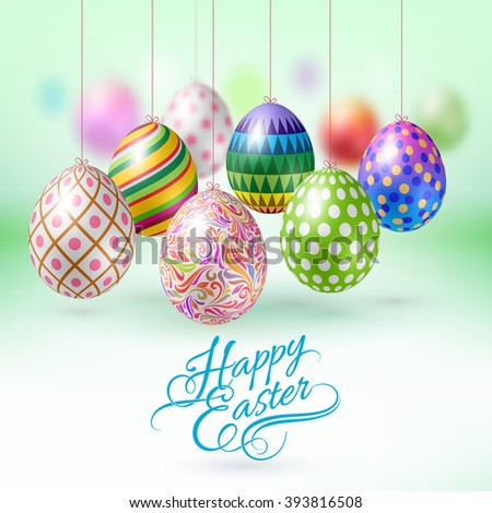 Happy Easter Greeting Card with Hanging Easter Eggs - stock vector