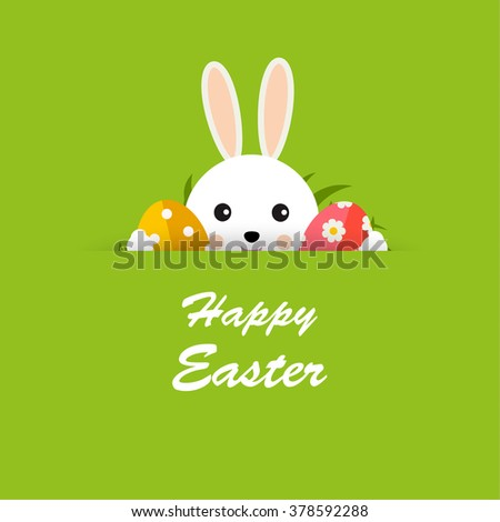 Happy Easter greeting card with hiding bunny, Easter eggs and grass on green background, vector illustration - stock vector