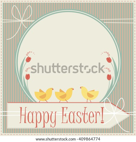 Happy easter greeting card with little chickens can be used for greeting card.