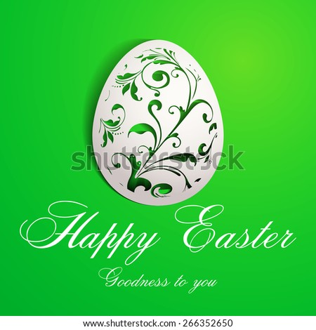 Happy Easter greeting card with paper egg design  - stock vector