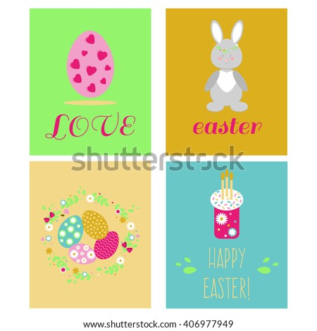 Happy Easter Greeting Cards Template Easter Stock Vector