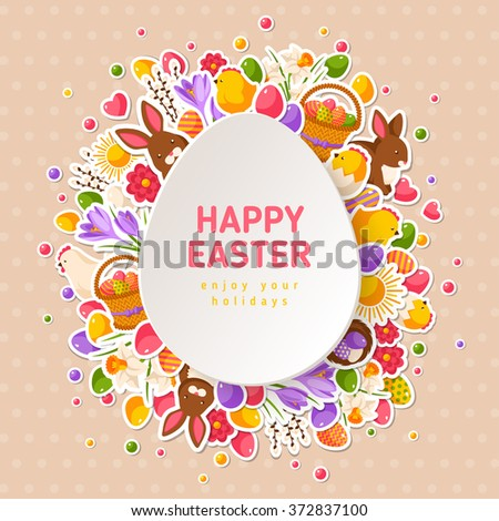 Happy easter greeting cards paper cut stock vector 372837100 happy easter greeting cards with paper cut easter egg vector illustration easter flat stickers m4hsunfo Image collections