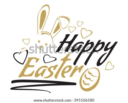 Happy easter. Greeting inscription with the Easter bunny and Easter eggs. Vector easter art, hand lettering, text. Vector illustration - stock vector