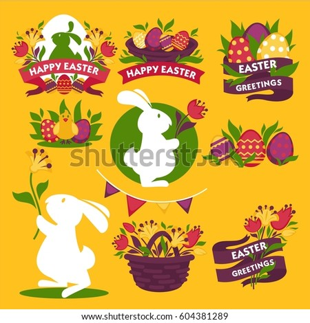 Happy easter greeting logo signs colorful stock vector 604381289 happy easter greeting logo signs colorful flat vector poster traditional symbolic elements for celebrating spring m4hsunfo