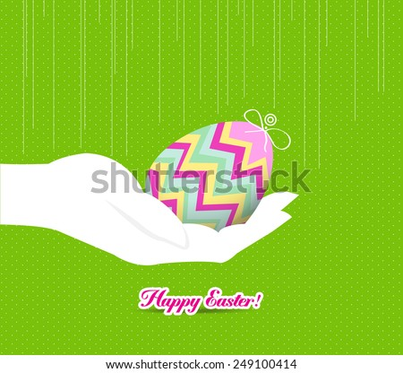 happy easter hand holding a egg - stock vector