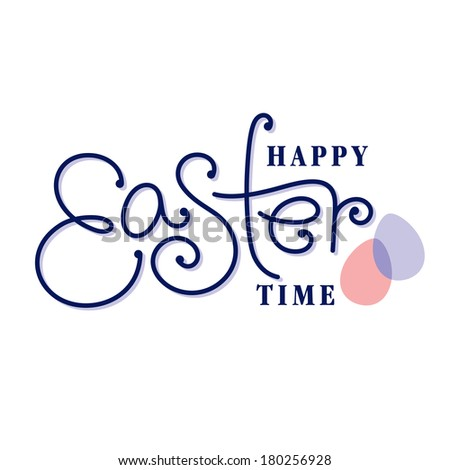 happy easter hand lettering handmade calligraphy - stock vector